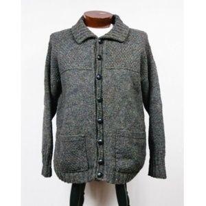Great Britain 100% Wool Fisherman Cardigan Sweater